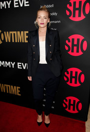 Piper Perabo went the masculine-chic route in a black pantsuit with gold buttons for the Showtime Emmy eve party.