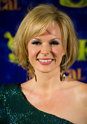 Amanda Holden wore her hair in a tousled bob at the press night for 'Shrek - The Musical.'