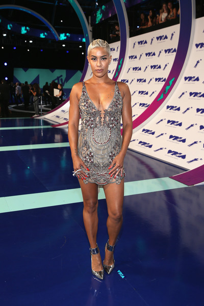 Sibley Scoles Beaded Dress [red carpet,fashion model,beauty,fashion show,performance,fashion,flooring,music artist,competition,runway,girl,sibley scoles,mtv video music awards,inglewood,california,the forum]