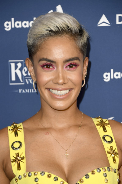 Sibley Scoles Fauxhawk [hair,hairstyle,eyebrow,blond,chin,forehead,eyelash,premiere,croydon facelift,brown hair,arrivals,sibley scoles,glaad media awards,the beverly hilton hotel,beverly hills,california]