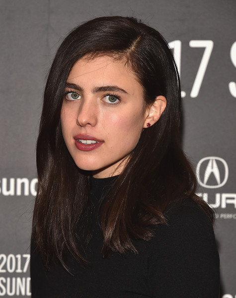 Margaret Qualley wore her hair in a simple yet stylish side-parted style at the Sundance premiere of 'Sidney Hall.'