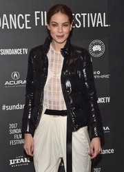 Michelle Monaghan looked hip in a black puffer jacket at the Sundance premiere of 'Sidney Hall.'