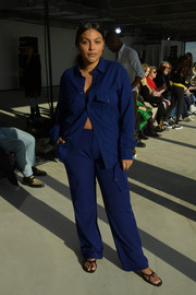 Paloma Elsesser went menswear-chic in this navy button-down shirt at the Sies Marjan Fall 2020 show.