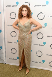 Bernadette Peters glittered in a beaded gold gown at the Sinatra Voice for a Century event.