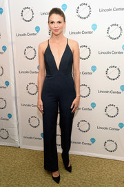 Sutton Foster rocked a plunging pinstripe jumpsuit at the Sinatra Voice for a Century event.