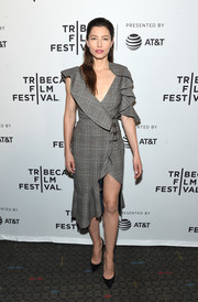 Jessica Biel was sexy and sophisticated in an asymmetrical, ruffled glen plaid dress by Self-Portrait at the Tribeca Film Fest premiere of 'The Sinner.'