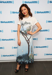 Constance Wu sported a cute postage stamp-print tee while visiting SiriusXM.