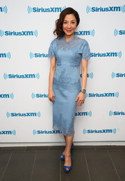Michelle Yeoh kept it classy in a periwinkle lace-panel cocktail dress while visiting SiriusXM.