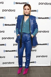 Rose Byrne looked groovy in a blue leather pantsuit while visiting SiriusXM's 'Town Hall.'