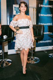 Isabela Moner looked downright darling in a floral-appliqued off-the-shoulder mini while visiting SiriusXM's 'Town Hall.'