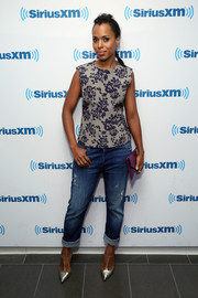 Kerry Washington visited SiriusXM wearing a Mary Katrantzou floral top with ripped jeans.