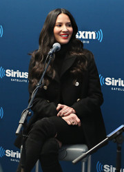 Olivia Munn visited SiriusXM 'Town Hall' wearing a stylish black pea coat by Balenciaga.