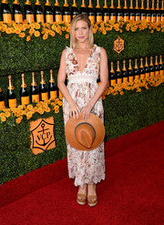 Brittany Snow was breezy-boho in a low-cut, lace-panel floral dress by Zimmermann at the Veuve Clicquot Polo Classic.