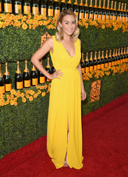 Lauren Conrad was a drop of sunshine in her bright yellow Saloni maxi dress at the Veuve Clicquot Polo Classic.