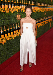 Cara Santana made a fab choice with this strapless white Yigal Azrouel jumpsuit, featuring a diamond-shaped cutout, for the Veuve Clicquot Polo Classic.
