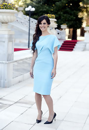 We're in love with Berenice's sky blue draped dress!