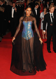 Naomie was definitely the most daring of the night in this sequined leotard mesh creation.