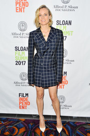 Diane Kruger chose a navy grid-print blazer dress by Monse for the Sloan Film Summit 2017.