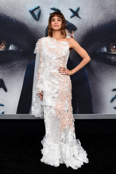 Sofia Boutella Lace Dress [the mummy,gown,fashion model,dress,flooring,shoulder,fashion,joint,wedding dress,formal wear,haute couture,sofia boutella,new york city,lincoln square,amc loews,new york fan event]