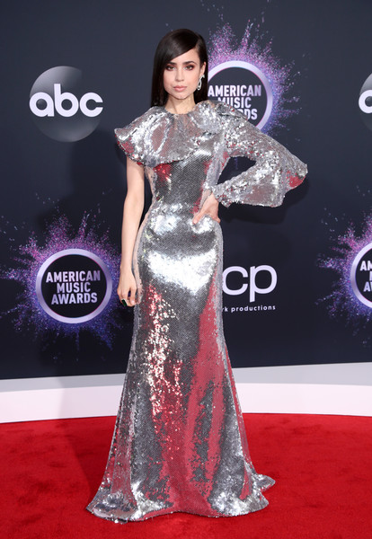 Sofia Carson Sequin Dress [red carpet,carpet,fashion model,dress,clothing,shoulder,gown,flooring,fashion,hairstyle,arrivals,sofia carson,american music awards,microsoft theater,los angeles,california]