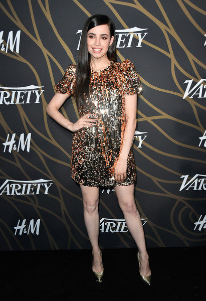 Sofia Carson Sequin Dress [fashion model,clothing,dress,fashion,cocktail dress,shoulder,little black dress,carpet,joint,performance,variety power of young hollywood - arrivals,tao hollywood,los angeles,california,sofia carson]