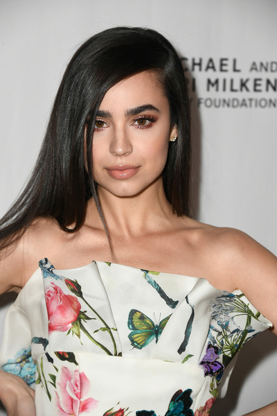 Sofia Carson Long Straight Cut [hair,face,shoulder,hairstyle,lip,clothing,beauty,skin,fashion model,eyebrow,arrivals,sofia carson,beverly hills,california,beverly wilshire four seasons hotel,los angeles ballet gala]