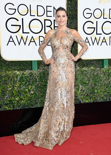 Sofia Vergara Beaded Dress [gown,flooring,carpet,dress,fashion model,beauty,lady,red carpet,shoulder,cocktail dress,arrivals,sofia vergara,beverly hills,california,the beverly hilton hotel,golden globe awards]
