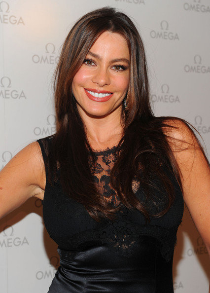 Sofia Vergara Long Straight Cut [hair,hairstyle,beauty,brown hair,shoulder,long hair,lip,dress,black hair,little black dress,sofia vergara,newest boutique,boutique,california,los angeles,beverly center,omega,opening]