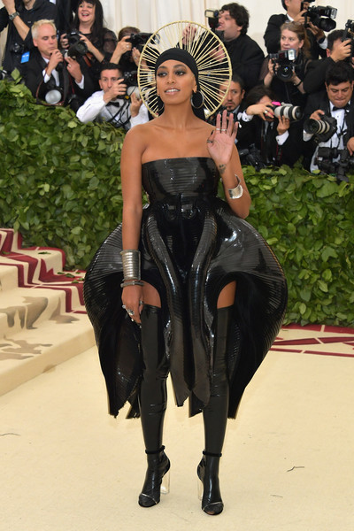 Solange Knowles Strapless Dress [heavenly bodies: fashion the catholic imagination costume institute gala - arrivals,fashion,clothing,dress,haute couture,fashion model,latex clothing,fashion show,thigh,outerwear,event,new york city,metropolitan museum of art,solange knowles]
