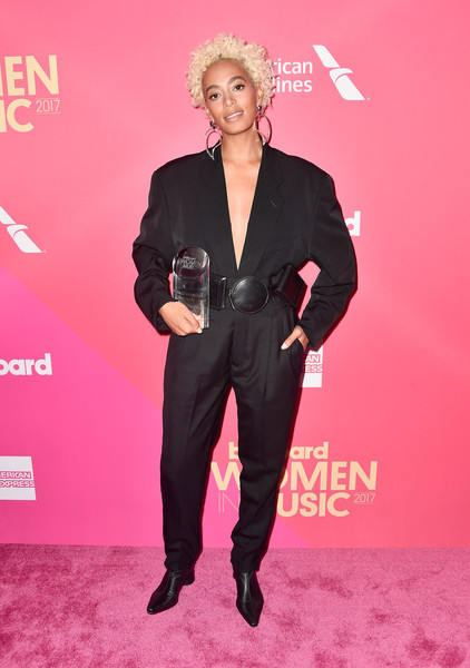 Solange Knowles Jumpsuit [suit,carpet,pink,premiere,pantsuit,red carpet,fashion,formal wear,tuxedo,event,billboard women in music 2017,arrivals,hollywood highland center,ray dolby ballroom,california,solange knowles]