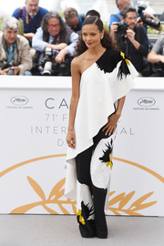Thandie Newton was summer-glam in a one-shoulder floral jumpsuit by Valentino at the Cannes Film Festival photocall for 'Solo: A Star Wars Story.'