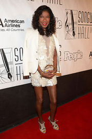 Natalie Cole sported a white embellished dress at the Songwriters Hall of Fame Induction Ceremony.