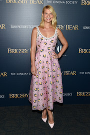 Claire Danes kept it sweet and stylish at the 'Brigsby Bear' screening in a pink print dress by Prada that featured a fit-and-flare silhouette and a bejeweled neckline.