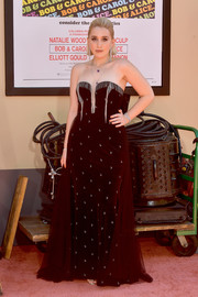 Harley Quinn Smith stole the spotlight in a strapless black gown with silver embellishments at the LA premiere of 'Once Upon a Time in Hollywood.'