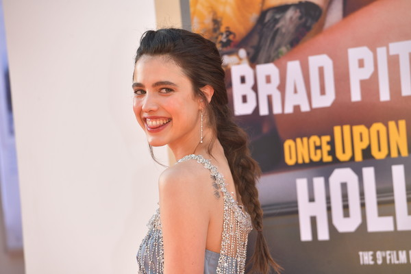Margaret Qualley styled her hair into a loose braid for the LA premiere of 'Once Upon a Time in Hollywood.'