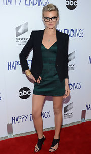 Eliza Coupe arrived for an evening with 'Happy Endings' wearing cool heeled leather sandals.