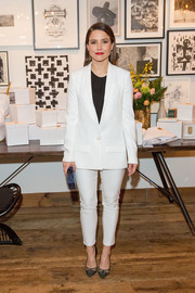 Sophia Bush was all business in a white ATM Anthony Thomas Melillo pantsuit while attending a brunch celebrating Chicago's top design tastemakers.