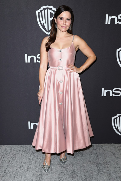 Sophia Bush Evening Pumps [dress,clothing,pink,shoulder,fashion model,a-line,cocktail dress,premiere,fashion,hairstyle,sophia bush,beverly hills,california,the beverly hilton hotel,instyle,golden globes,warner bros.,arrivals,party]