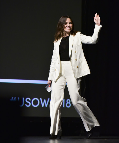 Sophia Bush Pantsuit [white,performance,clothing,suit,formal wear,fashion,blazer,outerwear,event,performing arts,sophia bush,stage,california,los angeles,united state of women summit,the united state of women summit]