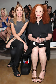 Grace Coddington looked sophisticated in a black button-down shirt at Spring 2012 Mercedes-Benz Fashion Week.