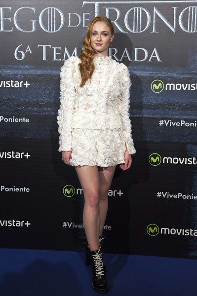 Sophie Turner Combat Boots [game of thrones,cinema,fashion model,flooring,fashion,catwalk,fur clothing,fur,carpet,cocktail dress,red carpet,fashion design,sophie turner,sophie turner attends,palafox,madrid,spain,fans event,fan event]