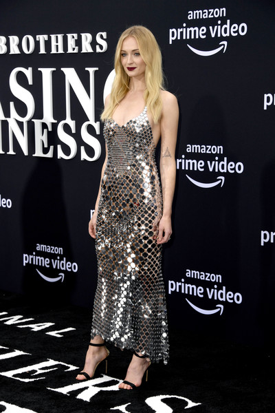 Sophie Turner Strappy Sandals [clothing,dress,fashion model,premiere,fashion,footwear,carpet,cocktail dress,strapless dress,long hair,arrivals,sophie turner,california,los angeles,regency bruin theatre,amazon prime video,chasing happiness,premiere]
