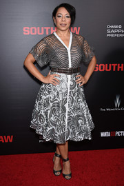 Selenis Leyva showed off a '50s-inspired mixed-pattern sequined dress by Byron Lars during the New York premiere of 'Southpaw.'
