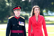 Queen Rania of Jordan (R) attends the Sovereign's Parade at the Royal Military Academy Sandhurst on August 11, 2017 in Camberley, England.