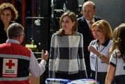 Queen Letizia of Spain cut a stylish figure in a navy and white checkered jacket by Hugo Boss while visiting the Red Cross headquarters in Mexico City.