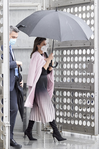 Queen Letizia of Spain teamed a pink wool coat by Carolina Herrera with an ombre midi skirt and a black sweater for the APM Journalism Awards.