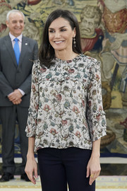 Queen Letizia of Spain kept it casual and cute in a floral blouse by Indi & Cold while attending audiences at Zarzuela Palace.
