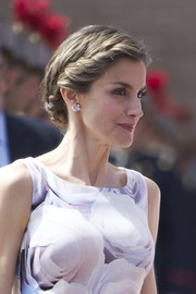 Queen Letizia of Spain went for fairytale elegance with this braided updo during a military event in Zaragoza.