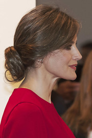 Queen Letizia of Spain looked romantic wearing this loose, low bun at the opening of the ARCO Fair.