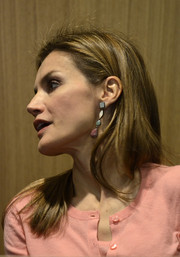 Princess Letizia accessorized with a cute pair of dangling geometric earrings during her visit to the new Puig headquarters.